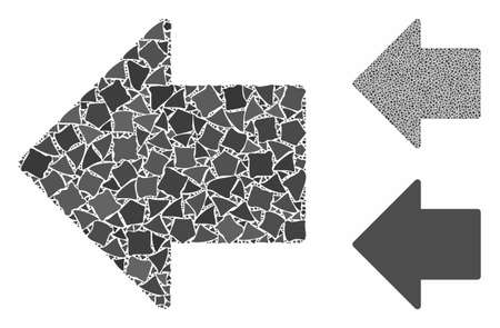 Arrow left mosaic of uneven elements in different sizes and shades, based on arrow left icon. Vector humpy elements are united into collage. Arrow left icons collage with dotted pattern. Vectores