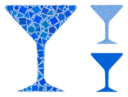 Alcohol glass composition of rough elements in variable sizes and color tints, based on alcohol glass icon. Vector inequal elements are composed into composition.