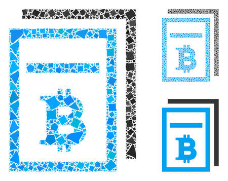 Bitcoin price pages mosaic of inequal items in different sizes and color hues, based on Bitcoin price pages icon. Vector inequal dots are combined into mosaic.