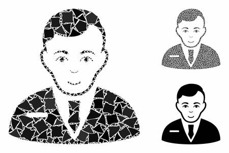 Businessman mosaic of irregular parts in different sizes and color tones, based on businessman icon. Vector tremulant parts are organized into collage. Businessman icons collage with dotted pattern.