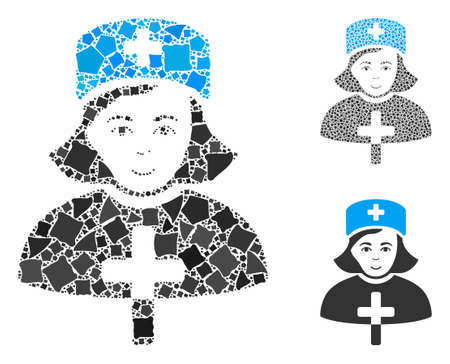 Catholic lady doctor mosaic of rugged pieces in variable sizes and color tinges, based on catholic lady doctor icon. Vector trembly pieces are united into mosaic.