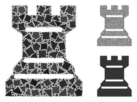 Chess tower mosaic of irregular pieces in different sizes and color tinges, based on chess tower icon. Vector raggy pieces are organized into collage. Chess tower icons collage with dotted pattern.
