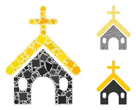 Christian church composition of uneven parts in various sizes and shades, based on Christian church icon. Vector irregular dots are organized into composition.