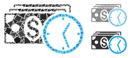 Credit mosaic of ragged pieces in variable sizes and shades, based on credit icon. Vector rugged pieces are united into collage. Credit icons collage with dotted pattern.
