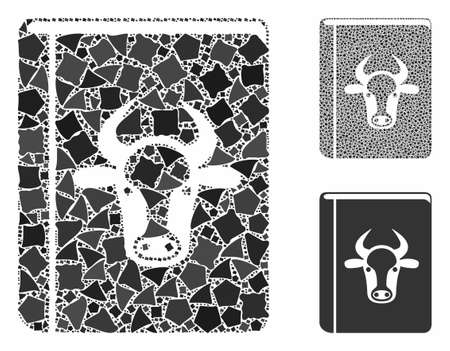 Cow book mosaic of inequal items in variable sizes and color hues, based on cow book icon. Vector joggly items are composed into mosaic. Cow book icons collage with dotted pattern. Ilustracja