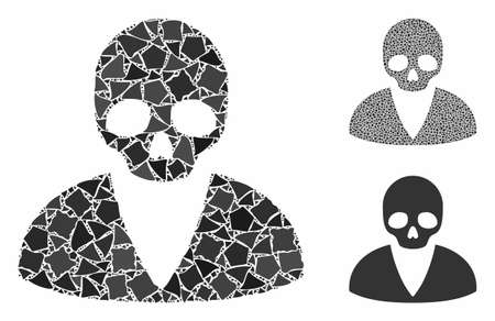 Death man composition of raggy elements in different sizes and color hues, based on death man icon. Vector raggy elements are grouped into mosaic. Death man icons collage with dotted pattern.