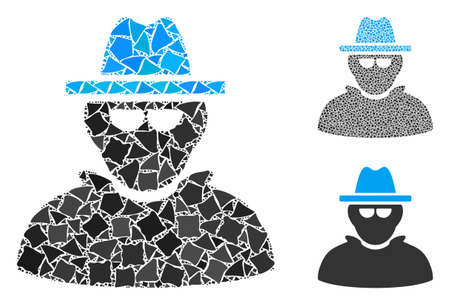 Detective mosaic of unequal pieces in various sizes and color tones, based on detective icon. Vector trembly parts are united into collage. Detective icons collage with dotted pattern. Çizim