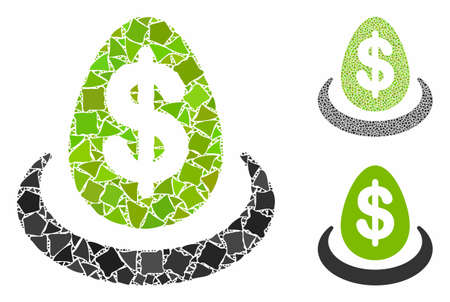 Dollar deposit composition of tuberous pieces in various sizes and color tints, based on dollar deposit icon. Vector tuberous pieces are united into illustration.