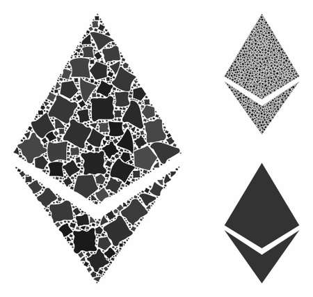 Ethereum crystal composition of rough pieces in various sizes and color tinges, based on Ethereum crystal icon. Vector raggy pieces are composed into composition.