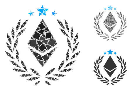 Ethereum laurel wreath composition of joggly items in different sizes and color tints, based on Ethereum laurel wreath icon. Vector rough items are united into composition. Ilustrace