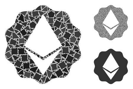 Ethereum badge seal composition of humpy pieces in various sizes and color hues, based on Ethereum badge seal icon. Vector inequal pieces are composed into composition. Vector Illustratie