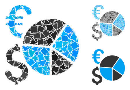 Dollar and Euro pie chart mosaic of tuberous items in different sizes and shades, based on Dollar and Euro pie chart icon. Vector unequal items are composed into mosaic.