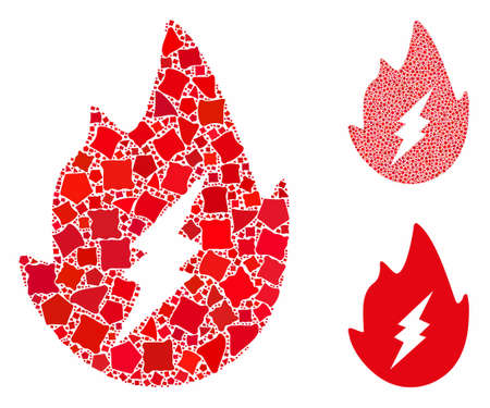 Electric spark flame mosaic of inequal pieces in various sizes and color tinges, based on electric spark flame icon. Vector inequal pieces are composed into illustration.