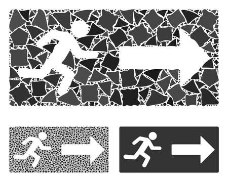Emergency exit composition of unequal elements in variable sizes and color tints, based on emergency exit icon. Vector abrupt pieces are grouped into collage. Ilustrace