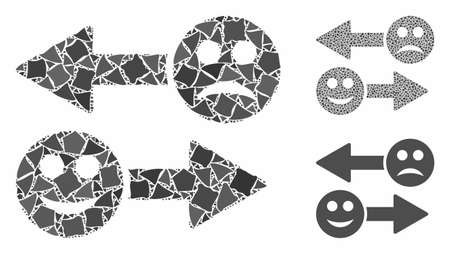 Emotion exchange arrows mosaic of inequal pieces in different sizes and shades, based on emotion exchange arrows icon. Vector rough pieces are grouped into mosaic.