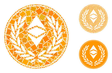 Ethereum classic laurel coin mosaic of joggly pieces in various sizes and color tinges, based on Ethereum classic laurel coin icon. Vector tuberous pieces are grouped into collage. Ilustrace
