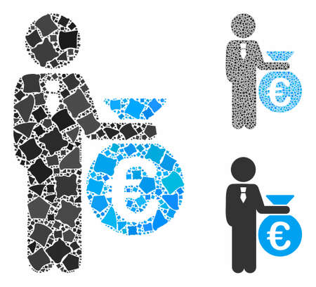 Euro banker mosaic of humpy items in various sizes and color tints, based on Euro banker icon. Vector humpy pieces are composed into mosaic. Euro banker icons collage with dotted pattern.
