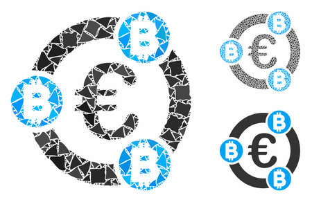 Euro Bitcoin collaboration mosaic of rugged parts in different sizes and color tinges, based on Euro Bitcoin collaboration icon. Vector uneven parts are grouped into collage. Ilustração