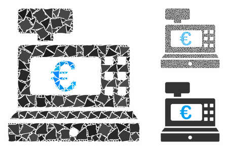 Euro cashbox composition of tremulant items in various sizes and color tones, based on Euro cashbox icon. Vector abrupt items are composed into collage. Euro cashbox icons collage with dotted pattern.