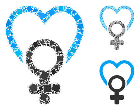 Female love mosaic of irregular items in various sizes and shades, based on female love icon. Vector uneven items are composed into collage. Female love icons collage with dotted pattern.