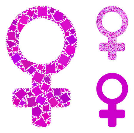 Female symbol composition of unequal items in variable sizes and shades, based on female symbol icon. Vector irregular items are organized into composition.
