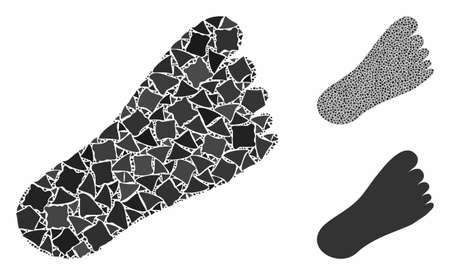 Foot composition of ragged pieces in different sizes and color hues, based on foot icon. Vector tremulant elements are grouped into composition. Foot icons collage with dotted pattern.