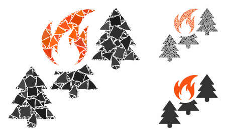 Forest fire composition of ragged items in various sizes and shades, based on forest fire icon. Vector trembly dots are combined into collage. Forest fire icons collage with dotted pattern. Иллюстрация