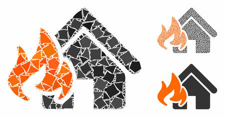 Fire damage mosaic of joggly parts in various sizes and color hues, based on fire damage icon. Vector uneven parts are combined into mosaic. Fire damage icons collage with dotted pattern.