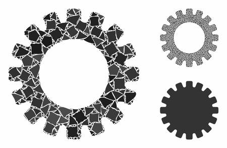 Gear composition of unequal parts in various sizes and color hues, based on gear icon. Vector inequal dots are united into composition. Gear icons collage with dotted pattern.