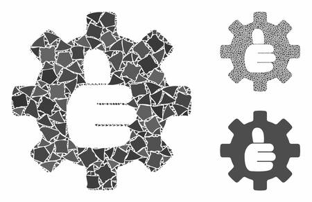 Gear thumb OK mosaic of abrupt pieces in various sizes and color tinges, based on gear thumb OK icon. Vector tuberous pieces are composed into composition.