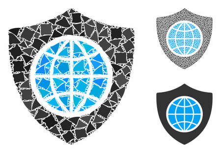 Global shield composition of trembly pieces in different sizes and color tints, based on global shield icon. Vector bumpy dots are composed into collage.