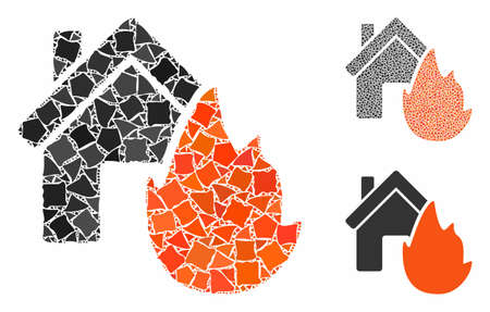 House fire disaster composition of tuberous elements in different sizes and color tones, based on house fire disaster icon. Vector tremulant elements are combined into collage.