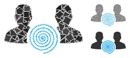 Hypnosis sect mosaic of uneven items in variable sizes and color tints, based on hypnosis sect icon. Vector uneven parts are grouped into mosaic. Hypnosis sect icons collage with dotted pattern. Çizim