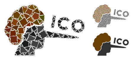 ICO lier composition of rough pieces in different sizes and shades, based on ICO lier icon. Vector joggly items are organized into composition. ICO lier icons collage with dotted pattern.