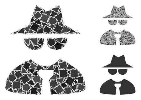 Composition du patron de la mafia de pièces en lambeaux de différentes tailles et teintes de couleurs, basée sur l'icône du patron de la mafia. Des morceaux de vecteur cahoteux sont composés en collage. Collage d'icônes de patron de la mafia avec motif en pointillé.