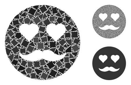 Lover smiley composition of tremulant parts in variable sizes and color tones, based on lover smiley icon. Vector trembly parts are combined into composition.