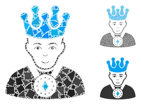 King composition of unequal elements in various sizes and shades, based on king icon. Vector humpy elements are combined into collage. King icons collage with dotted pattern.
