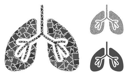 Lungs mosaic of abrupt parts in various sizes and color hues, based on lungs icon. Vector raggy parts are organized into mosaic. Lungs icons collage with dotted pattern.