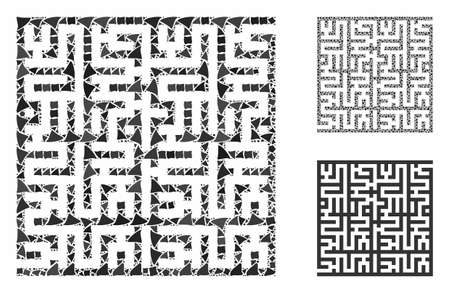 Labyrinth mosaic of joggly parts in various sizes and color tints, based on labyrinth icon. Vector humpy parts are combined into mosaic. Labyrinth icons collage with dotted pattern.