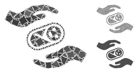 Composition des mains de soins du nouveau-né de pièces déchiquetées de tailles et de teintes variables, basée sur l'icône des mains de soins du nouveau-né. Les parties abruptes vectorielles sont organisées en composition.