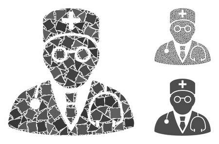 Physician mosaic of tremulant elements in variable sizes and color tones, based on physician icon. Vector abrupt items are united into mosaic. Physician icons collage with dotted pattern. Ilustrace