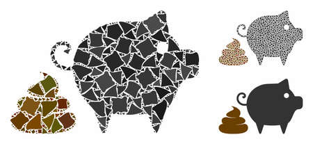 Pig shit mosaic of joggly pieces in variable sizes and color tones, based on pig shit icon. Vector rough elements are combined into collage. Pig shit icons collage with dotted pattern. Illustration