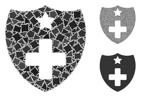Medical insurance shield mosaic of rough parts in different sizes and color tones, based on medical insurance shield icon. Vector abrupt parts are united into collage. Ilustração