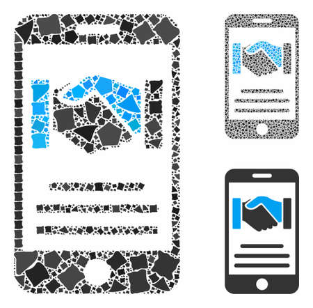 Mobile agreement handshake composition of tuberous parts in variable sizes and color tones, based on mobile agreement handshake icon. Vector tremulant parts are composed into collage.