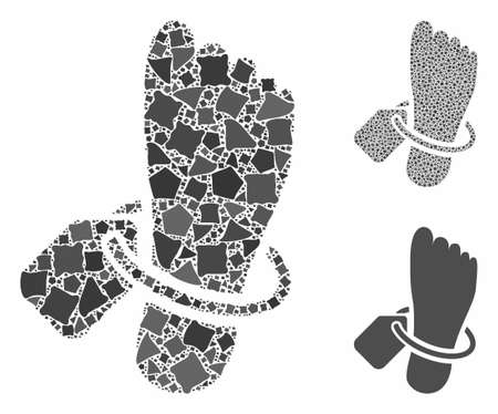 Morgue tagged foot composition of humpy parts in different sizes and shades, based on morgue tagged foot icon. Vector rugged pieces are combined into collage. Ilustrace