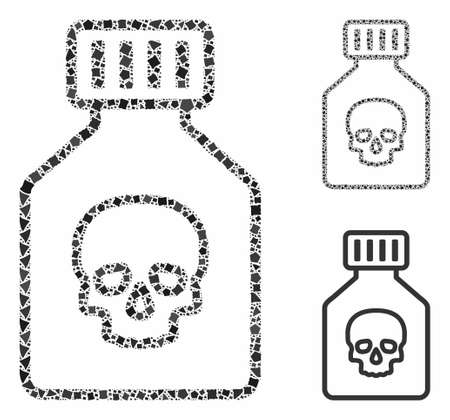 Poison phial composition of unequal parts in variable sizes and color hues, based on poison phial icon. Vector raggy parts are combined into collage. Poison phial icons collage with dotted pattern. Иллюстрация