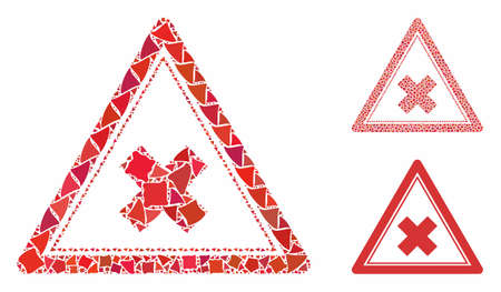 Reject triangle mosaic of trembly elements in different sizes and color tones, based on reject triangle icon. Vector humpy elements are grouped into collage. Ilustrace