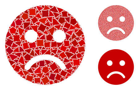 Sad mood smiley composition of trembly parts in various sizes and color hues, based on sad mood smiley icon. Vector joggly parts are united into collage.