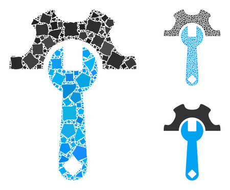 Service tools mosaic of trembly pieces in variable sizes and color tinges, based on service tools icon. Vector tremulant pieces are grouped into collage. Ilustrace