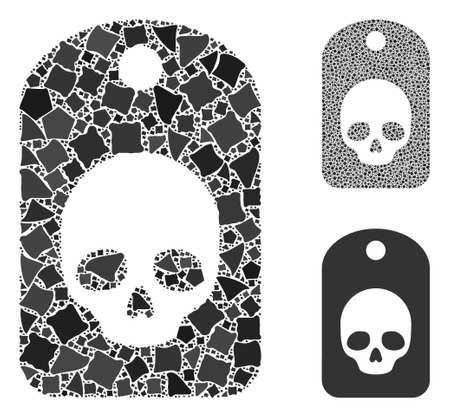 Skull label composition of bumpy parts in different sizes and color tints, based on skull label icon. Vector rough parts are combined into illustration. Skull label icons collage with dotted pattern.
